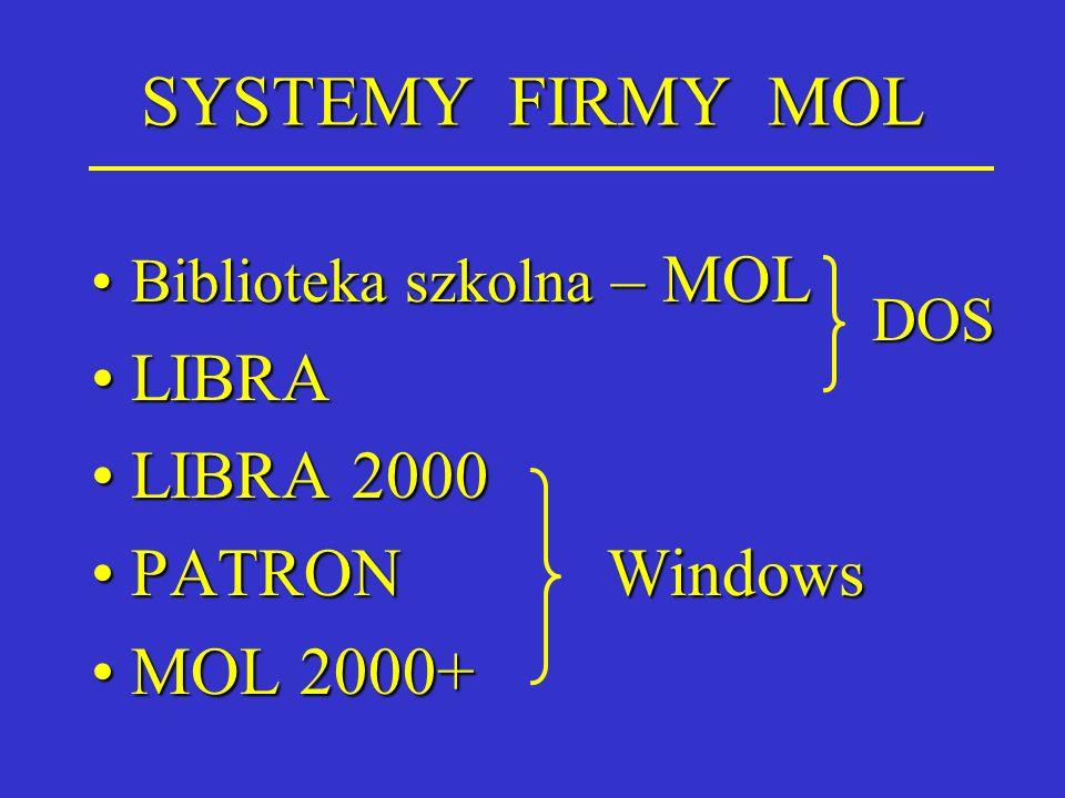 SYSTEMY FIRMY MOL Biblioteka szkolna – MOLBiblioteka szkolna – MOL LIBRALIBRA LIBRA 2000LIBRA 2000 PATRON WindowsPATRON Windows MOL 2000+MOL 2000+ DOS