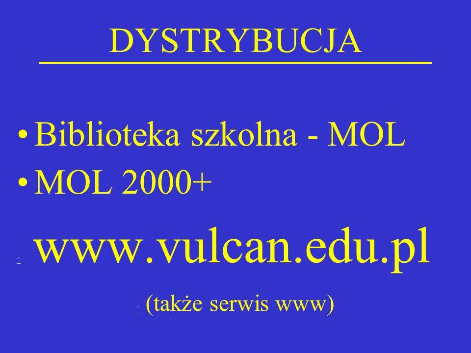 DYSTRYBUCJA Biblioteka szkolna - MOL MOL 2000+ ^ ^ www.vulcan.edu.pl ^ ^ (także serwis www)