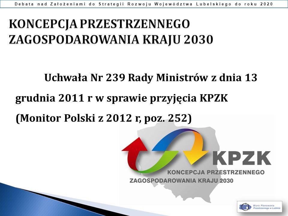 Ustalenia KPZK są obowiązujące dla polityki przestrzennej w obszarze regionów (plan województwa) i obszarach lokalnych (studia gmin) uwarunkowań polityki przestrzennego zagospodarowania kraju w perspektywie najbliższych dwudziestu lat wizji zagospodarowania Polski 2030 zasad i celów polityki przestrzennego zagospodarowania kraju typologii obszarów funkcjonalnych systemu realizacji KPZK 2030 Debata nad Założeniami do Strategii Rozwoju Województwa Lubelskiego do roku 2020 Dotyczą one: