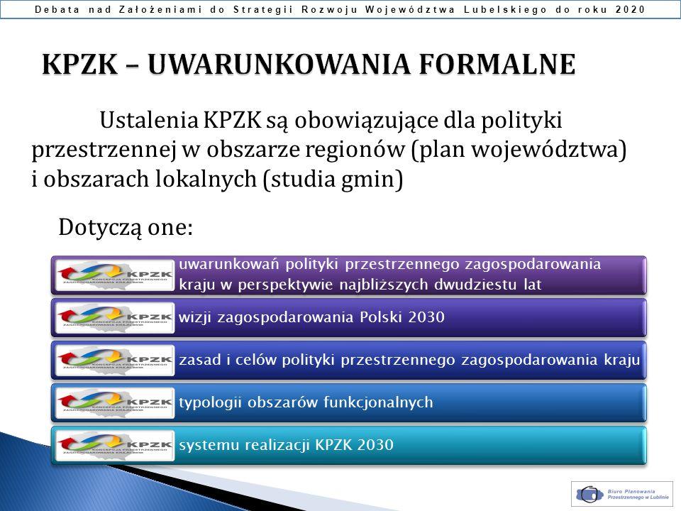 Ustalenia KPZK są obowiązujące dla polityki przestrzennej w obszarze regionów (plan województwa) i obszarach lokalnych (studia gmin) uwarunkowań polit