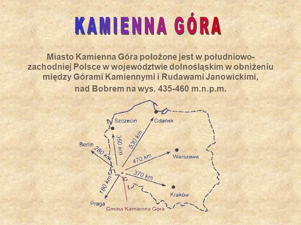 Miasto Kamienna Góra położone jest w południowo- zachodniej Polsce w województwie dolnośląskim w obniżeniu między Górami Kamiennymi i Rudawami Janowic