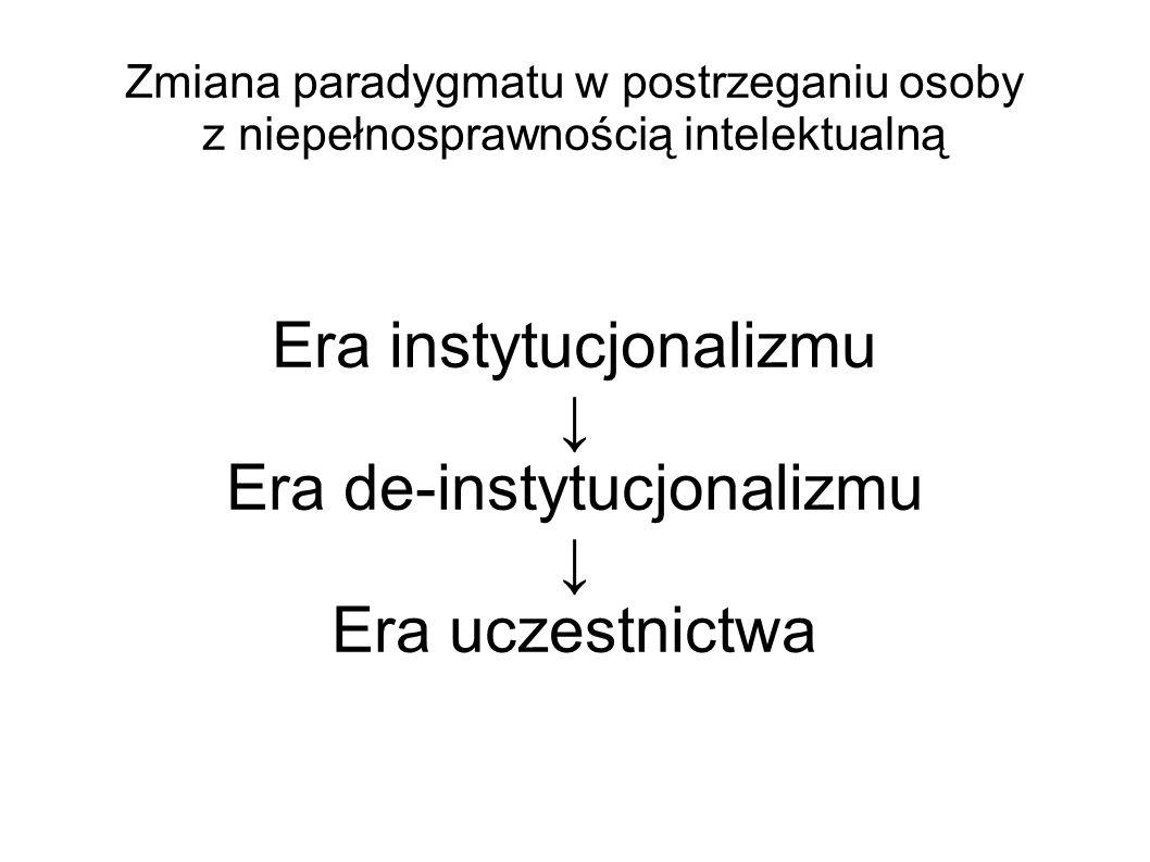 Zmiana paradygmatu w postrzeganiu osoby z niepełnosprawnością intelektualną Era instytucjonalizmu Era de-instytucjonalizmu Era uczestnictwa