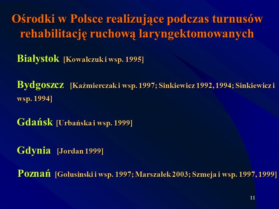 11 Ośrodki w Polsce realizujące podczas turnusów rehabilitację ruchową laryngektomowanych Gdynia [Jordan 1999] Bydgoszcz [Kaźmierczak i wsp. 1997; Sin
