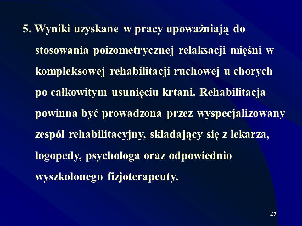 25 5. Wyniki uzyskane w pracy upoważniają do stosowania poizometrycznej relaksacji mięśni w kompleksowej rehabilitacji ruchowej u chorych po całkowity