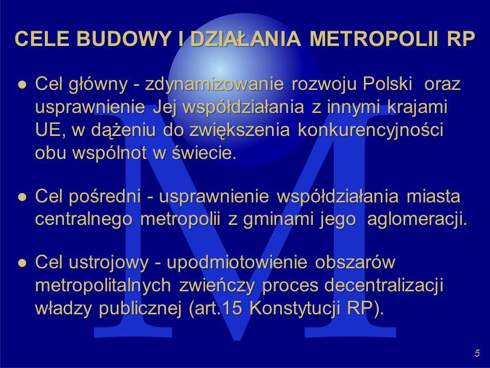 CELE BUDOWY I DZIAŁANIA METROPOLII RP Cel główny - zdynamizowanie rozwoju Polski oraz usprawnienie Jej współdziałania z innymi krajami UE, w dążeniu d