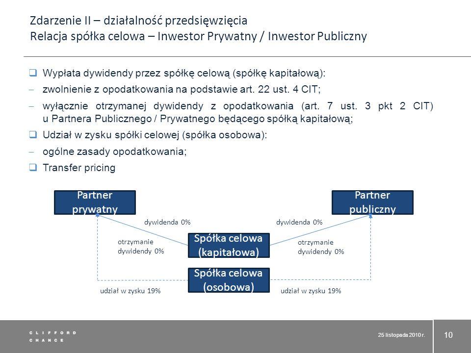25 listopada 2010 r. 10 Wypłata dywidendy przez spółkę celową (spółkę kapitałową): zwolnienie z opodatkowania na podstawie art. 22 ust. 4 CIT; wyłączn