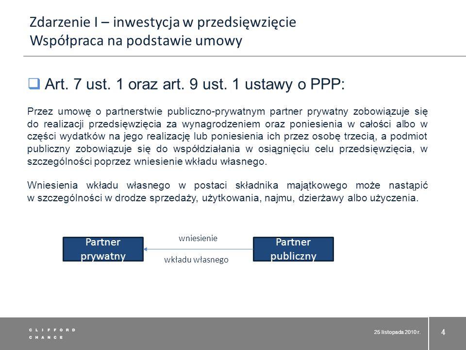 25 listopada 2010 r. 4 Art. 7 ust. 1 oraz art. 9 ust. 1 ustawy o PPP: Przez umowę o partnerstwie publiczno-prywatnym partner prywatny zobowiązuje się