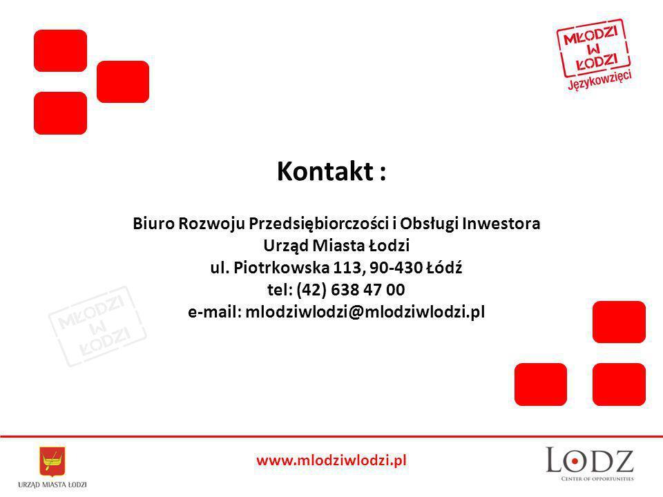 www.mlodziwlodzi.pl Biuro Rozwoju Przedsiębiorczości i Obsługi Inwestora Urząd Miasta Łodzi ul.