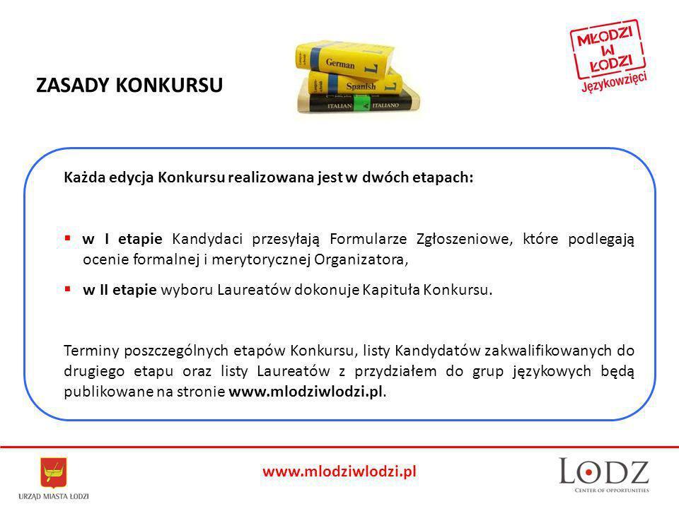 www.mlodziwlodzi.pl Każda edycja Konkursu realizowana jest w dwóch etapach: w I etapie Kandydaci przesyłają Formularze Zgłoszeniowe, które podlegają ocenie formalnej i merytorycznej Organizatora, w II etapie wyboru Laureatów dokonuje Kapituła Konkursu.