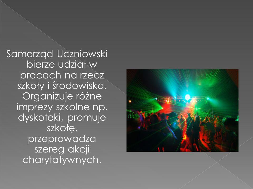 Samorząd Uczniowski bierze udział w pracach na rzecz szkoły i środowiska. Organizuje różne imprezy szkolne np. dyskoteki, promuje szkołę, przeprowadza