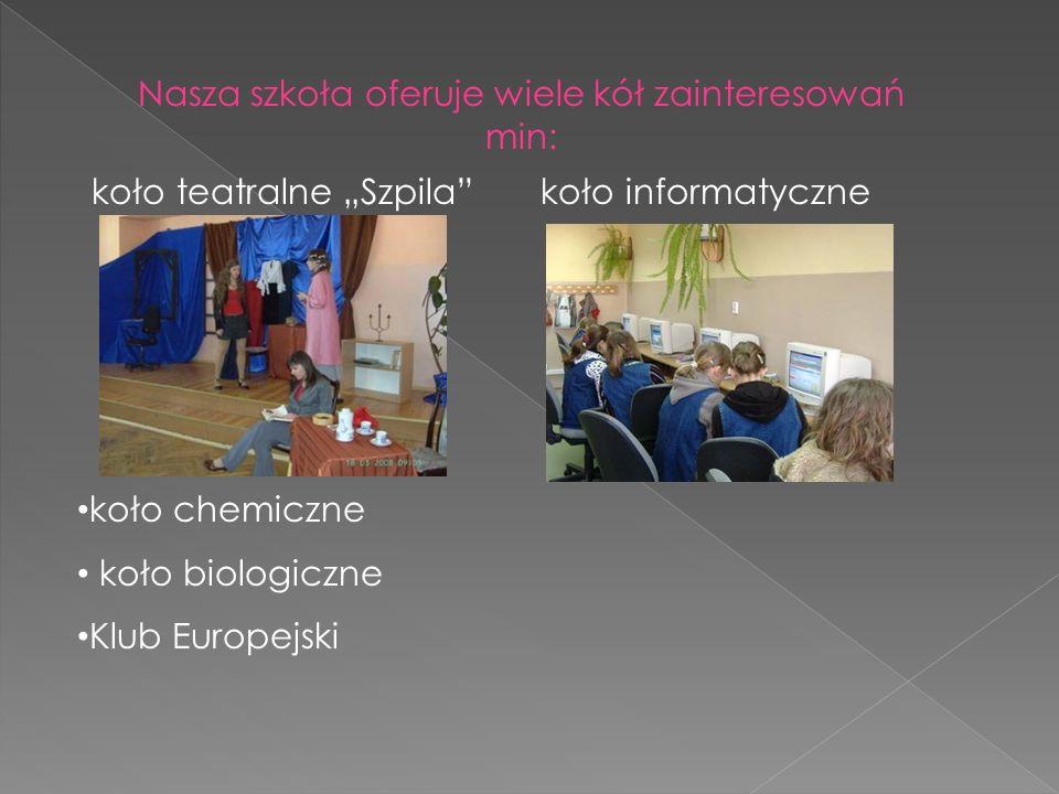 Nasza szkoła oferuje wiele kół zainteresowań min: koło teatralne Szpila koło informatyczne koło chemiczne koło biologiczne Klub Europejski