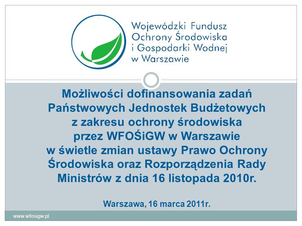 Dofinansowanie zadań państwowych jednostek budżetowych – tryb postępowania 1) Wnioski wstępne (wnioski kierowników państwowych jednostek budżetowych o przekazanie środków) kierowane do WFOŚiGW 2) Tworzenie listy zadań zakwalifikowanych do dofinansowania przez WFOŚiGW 3) Uzgodnienie listy z właściwymi dysponentami środków budżetowych 4) Przekazanie do MF informacji na temat kwot planowanych na dofinansowanie zadań ujętych na liście 5) Złożenie wniosku szczegółowego, jego ocena i ustalenie warunków dofinansowania 6) Umowa o realizację zadania 7) Realizacja zawartej umowy 8) Uznanie umowy za zrealizowaną www.wfosigw.pl 12