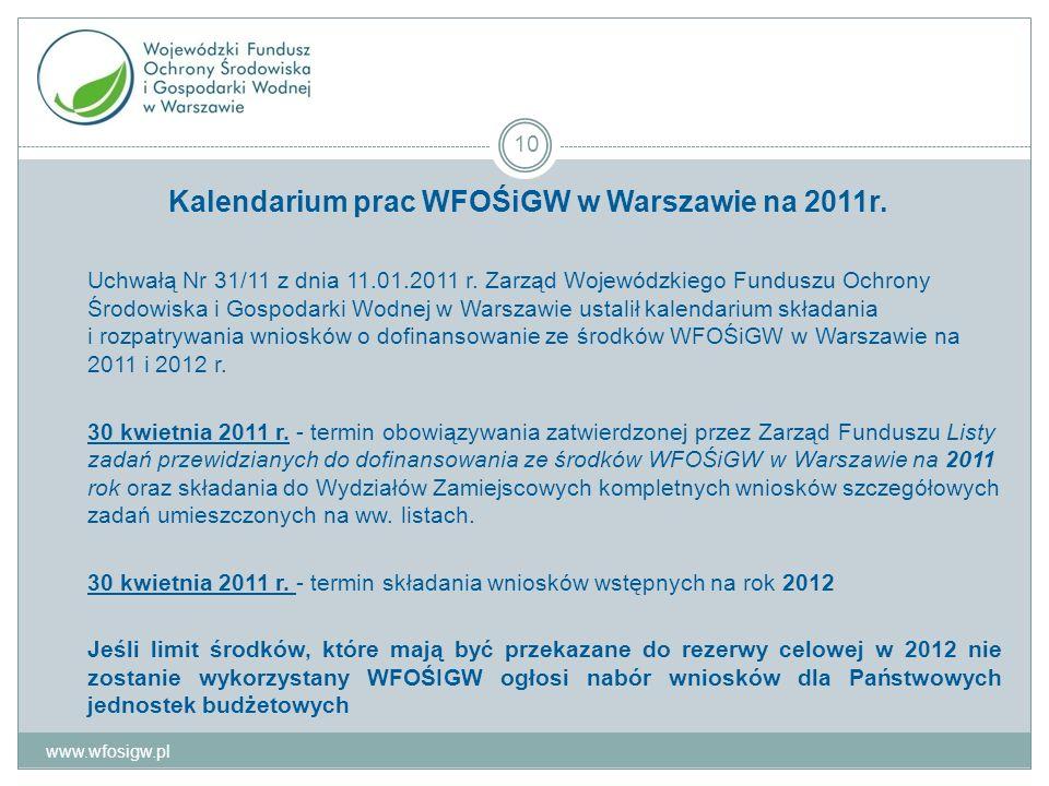 Kalendarium prac WFOŚiGW w Warszawie na 2011r. Uchwałą Nr 31/11 z dnia 11.01.2011 r.