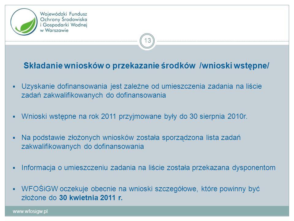 Składanie wniosków o przekazanie środków /wnioski wstępne/ Uzyskanie dofinansowania jest zależne od umieszczenia zadania na liście zadań zakwalifikowanych do dofinansowania Wnioski wstępne na rok 2011 przyjmowane były do 30 sierpnia 2010r.