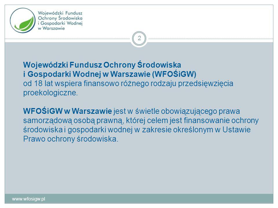 Wojewódzki Fundusz Ochrony Środowiska i Gospodarki Wodnej w Warszawie (WFOŚiGW) od 18 lat wspiera finansowo różnego rodzaju przedsięwzięcia proekologiczne.