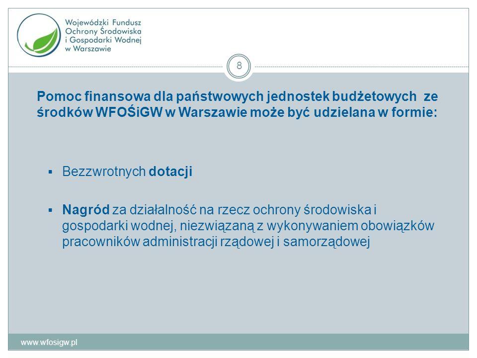 www.wfosigw.pl 19 1)Państwowa jednostka budżetowa składa w WFOŚiGW trzy egzemplarze wniosku o uruchomienie środkow z rezerwy celowej (wg wzoru) wraz z dokumentami rozliczenia raty (faktury) 2) Wniosek podlega weryfikacji 3) Po pozywtywnej akceptacji wniosku: 1 egzemplarz zostaje przekazany właściwemu dysponentowi części budżetowej 1 egzemplarz kierownikowi państwowej jednostki budżetowej 1 pozostaje w dokumentacji WFOŚiGW 4)W przypadku odmowy akceptacji wniosku WFOŚiGW powiadamia Państwową jednostkę budżetową o przyczynie takiej odmowy.