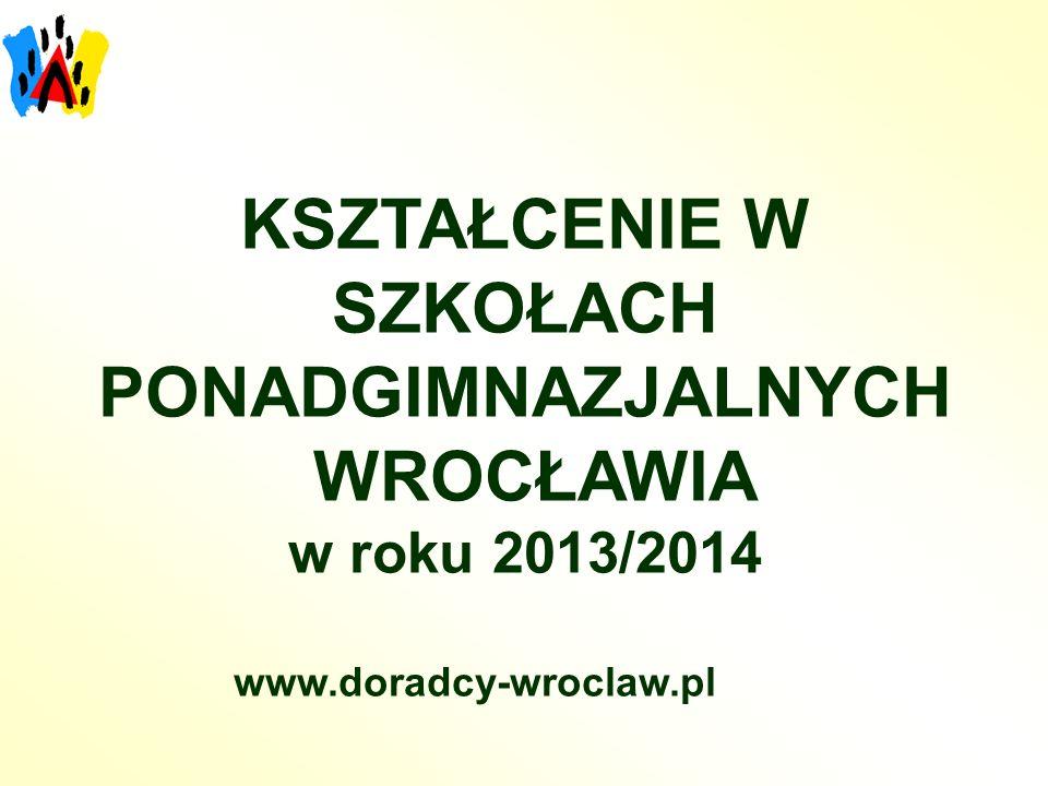 KSZTAŁCENIE W SZKOŁACH PONADGIMNAZJALNYCH WROCŁAWIA w roku 2013/2014 www.doradcy-wroclaw.pl