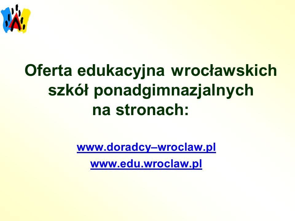 Oferta edukacyjna wrocławskich szkół ponadgimnazjalnych na stronach: www.doradcy–wroclaw.pl www.edu.wroclaw.pl