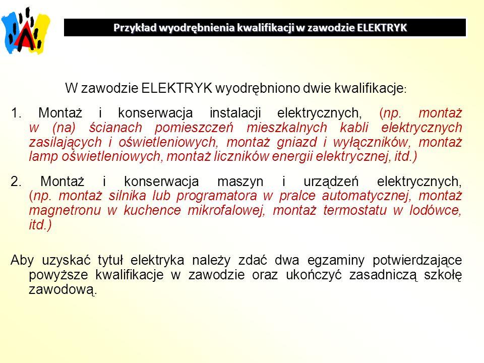 W zawodzie ELEKTRYK wyodrębniono dwie kwalifikacje : 1. Montaż i konserwacja instalacji elektrycznych, (np. montaż w (na) ścianach pomieszczeń mieszka