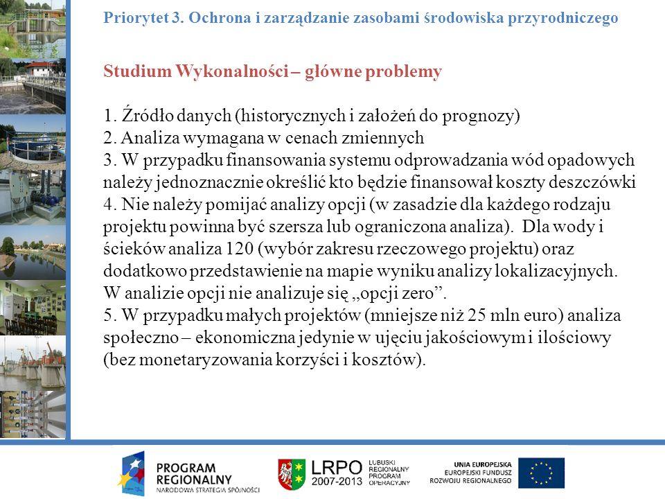 Studium Wykonalności – główne problemy 1. Źródło danych (historycznych i założeń do prognozy) 2.