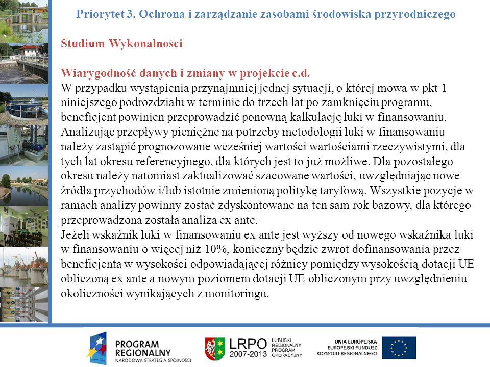 Studium Wykonalności Wiarygodność danych i zmiany w projekcie c.d.
