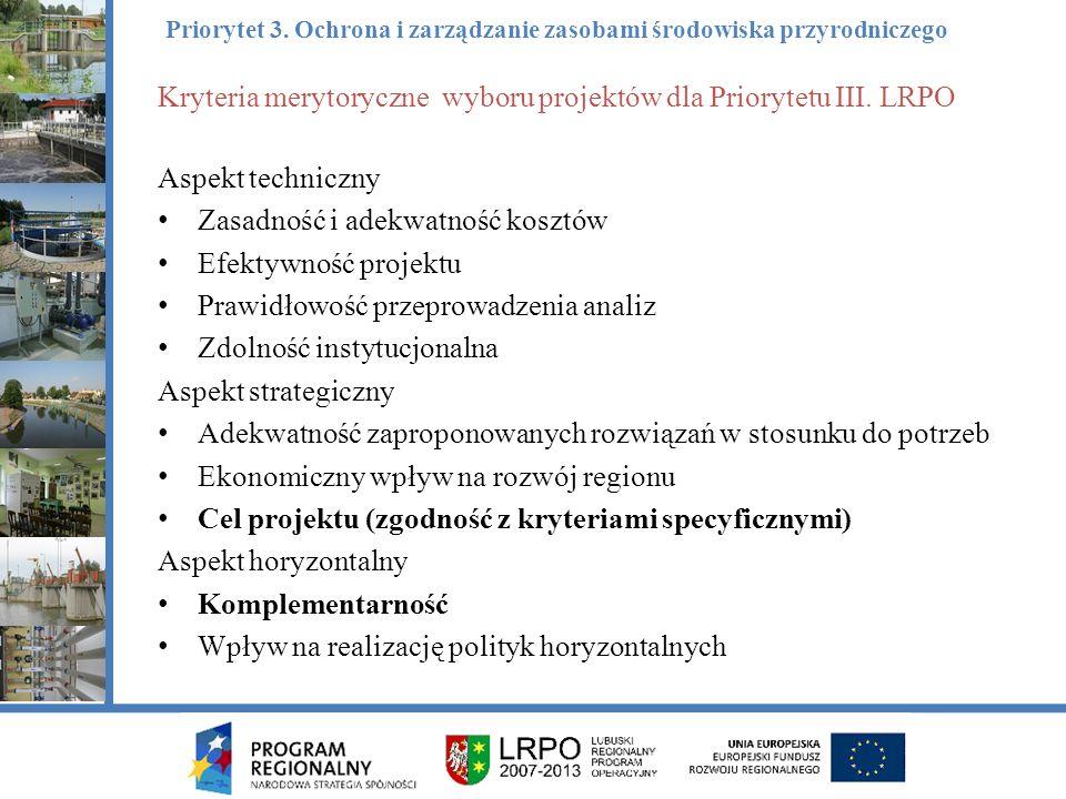 Kryteria merytoryczne wyboru projektów dla Priorytetu III.