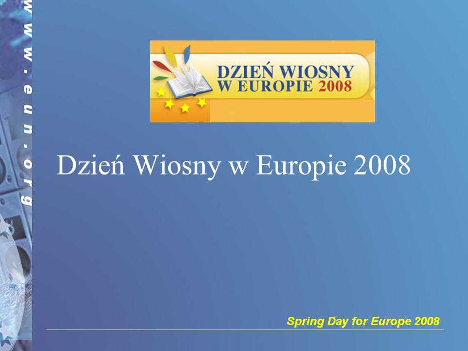 Spring Day for Europe 2008 2 Informacje ogólne Tegoroczna edycja Dnia Wiosny w Europie przebiega pod hasłem Zbliżając kultury poprzez dialog Dzień Wiosny w Europie to doroczna inicjatywa mająca na celu zachęcenie szkół do zarezerwowania w swoim kalendarzu jednego lub kilku dni na organizację wydarzeń poświęconych debatom, interakcji i refleksji na tematy europejskie.