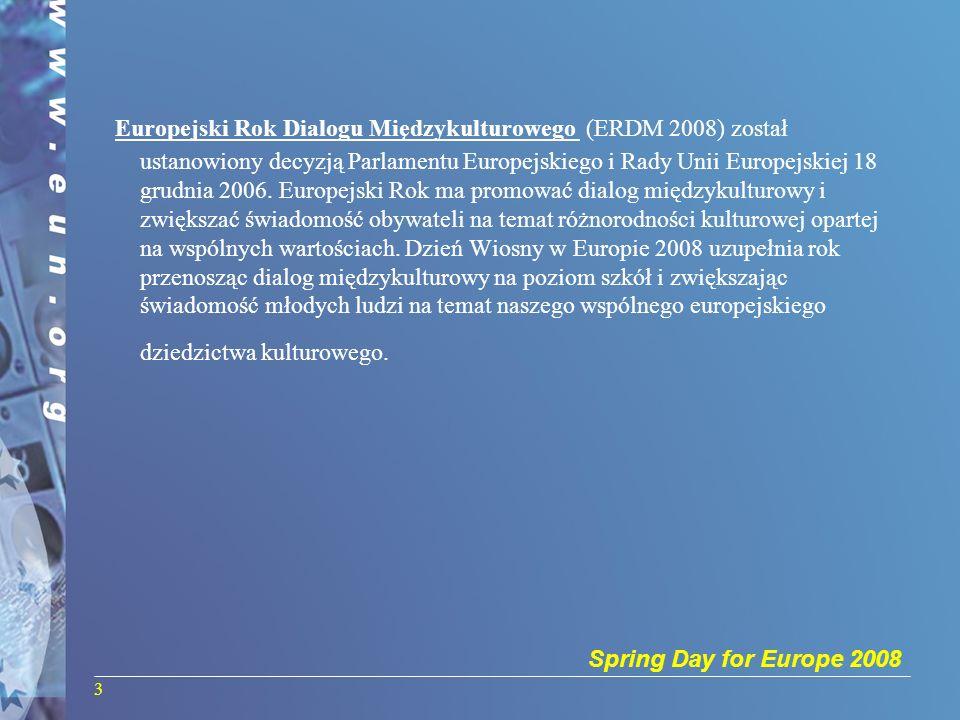 Spring Day for Europe 2008 4 Rejestracja szkoły Pierwszym krokiem do wzięcia udziału w projekcie jest zarejestrowanie szkoły: http://www.springday2008.net/ww/pl/pub/spring2008/ misc/registration.cfm http://www.springday2008.net/ww/pl/pub/spring2008/ misc/registration.cfm - wybieramy flagę Polski -po wybraniu województwa należy sprawdzić czy Państwa szkoła jest już zarejestrowana -jeśli nie, to na końcu strony klikamy: click here to register -wypełniamy formularz rejestracji szkoły -dalej podajemy swoje hasło dostępu, dzięki któremu można później przekazywać prace konkursowe i działania -z jednej szkoły może być więcej niż jedna osoba zarejestrowana