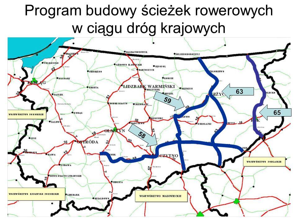 Program budowy ścieżek rowerowych w ciągu dróg krajowych 59 63 58 65