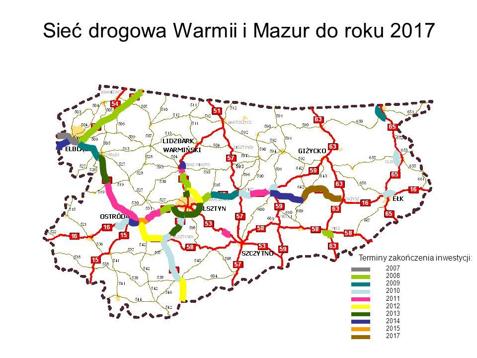 Sieć drogowa Warmii i Mazur do roku 2017 2007 2008 2009 2010 2011 2012 2013 2014 2015 2017 Terminy zakończenia inwestycji: