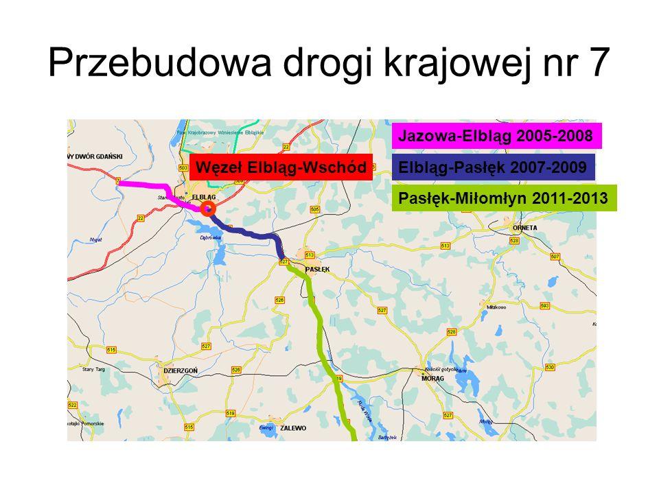 Przebudowa drogi krajowej nr 7 Jazowa-Elbląg 2005-2008 Elbląg-Pasłęk 2007-2009 Pasłęk-Miłomłyn 2011-2013 Węzeł Elbląg-Wschód