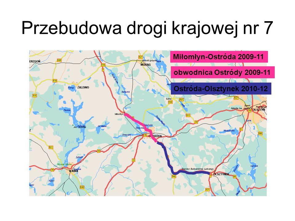 Przebudowa drogi krajowej nr 7 Miłomłyn-Ostróda 2009-11 obwodnica Ostródy 2009-11 Ostróda-Olsztynek 2010-12