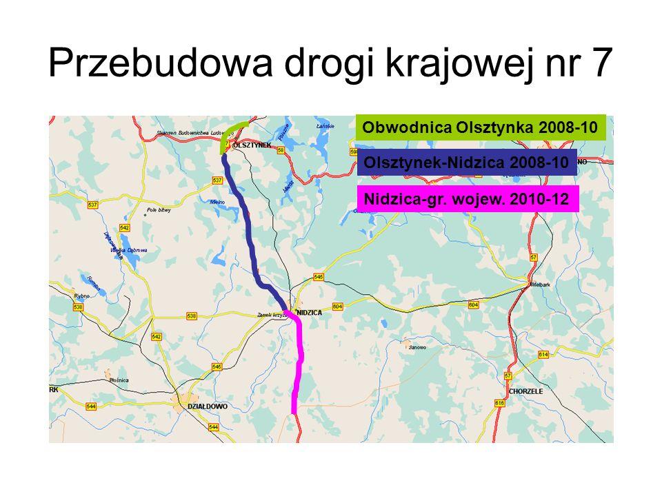 Przebudowa drogi krajowej nr 7 Obwodnica Olsztynka 2008-10 Olsztynek-Nidzica 2008-10 Nidzica-gr. wojew. 2010-12