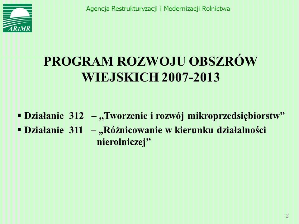 Agencja Restrukturyzacji i Modernizacji Rolnictwa 2 PROGRAM ROZWOJU OBSZRÓW WIEJSKICH 2007-2013 Działanie 312 – Tworzenie i rozwój mikroprzedsiębiorst