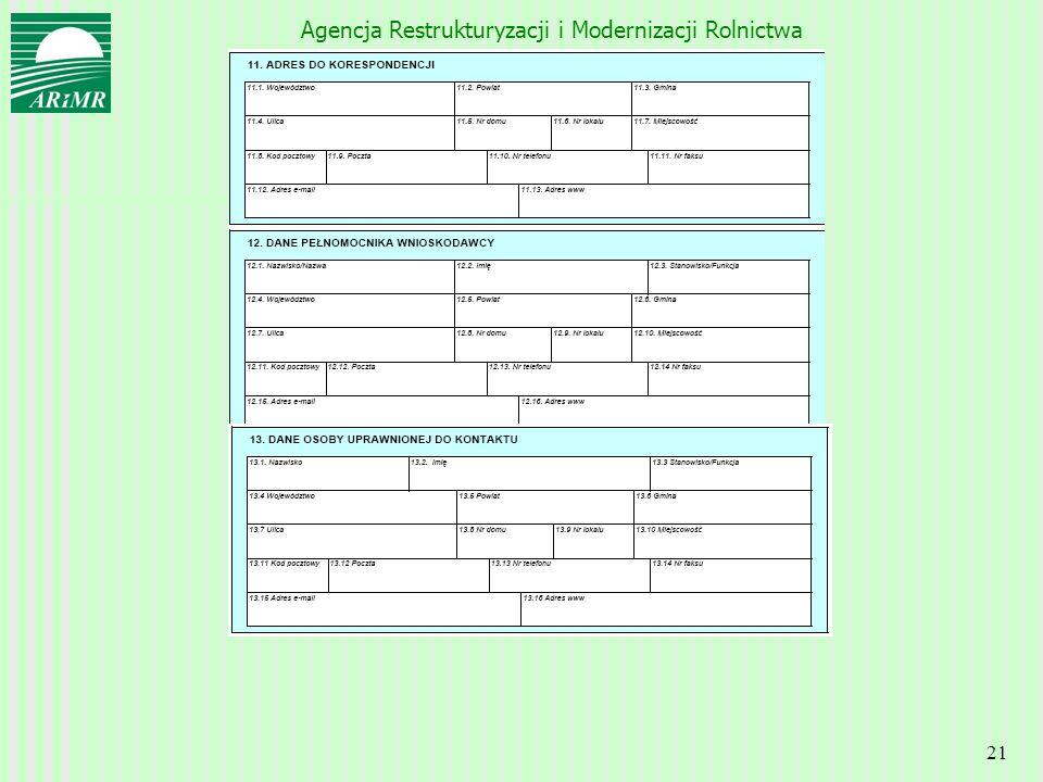 Agencja Restrukturyzacji i Modernizacji Rolnictwa 21
