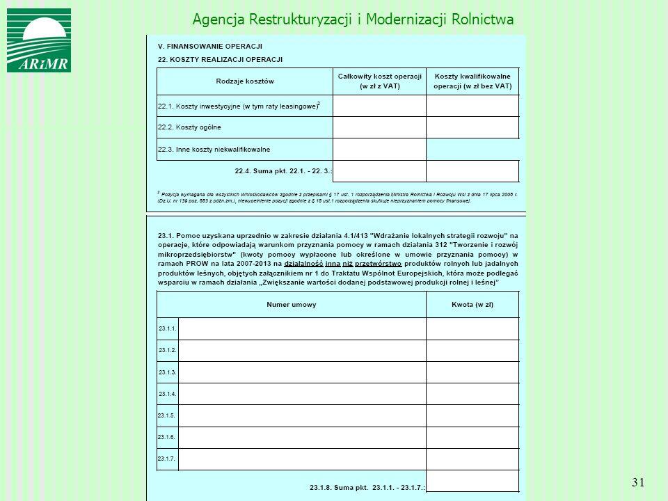 Agencja Restrukturyzacji i Modernizacji Rolnictwa 31