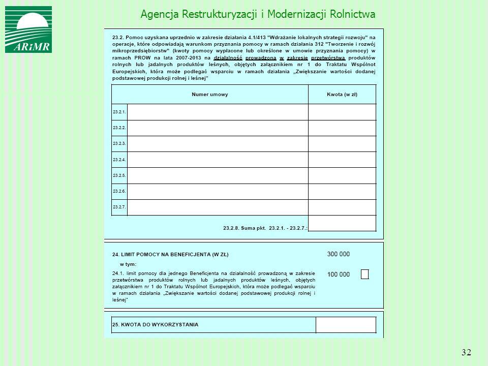 Agencja Restrukturyzacji i Modernizacji Rolnictwa 32