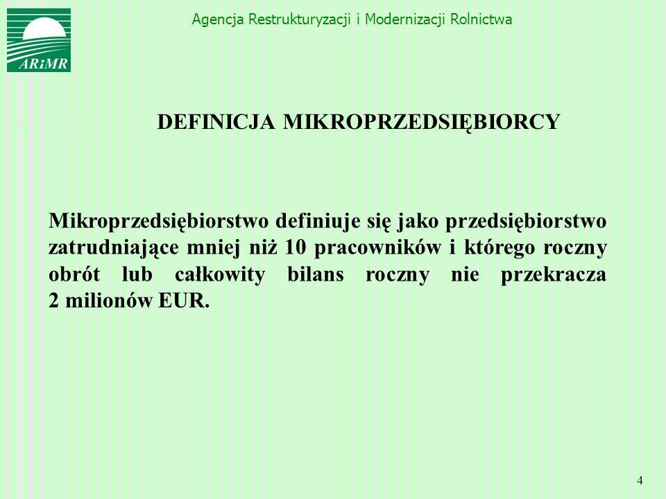 Agencja Restrukturyzacji i Modernizacji Rolnictwa 4 DEFINICJA MIKROPRZEDSIĘBIORCY Mikroprzedsiębiorstwo definiuje się jako przedsiębiorstwo zatrudniaj
