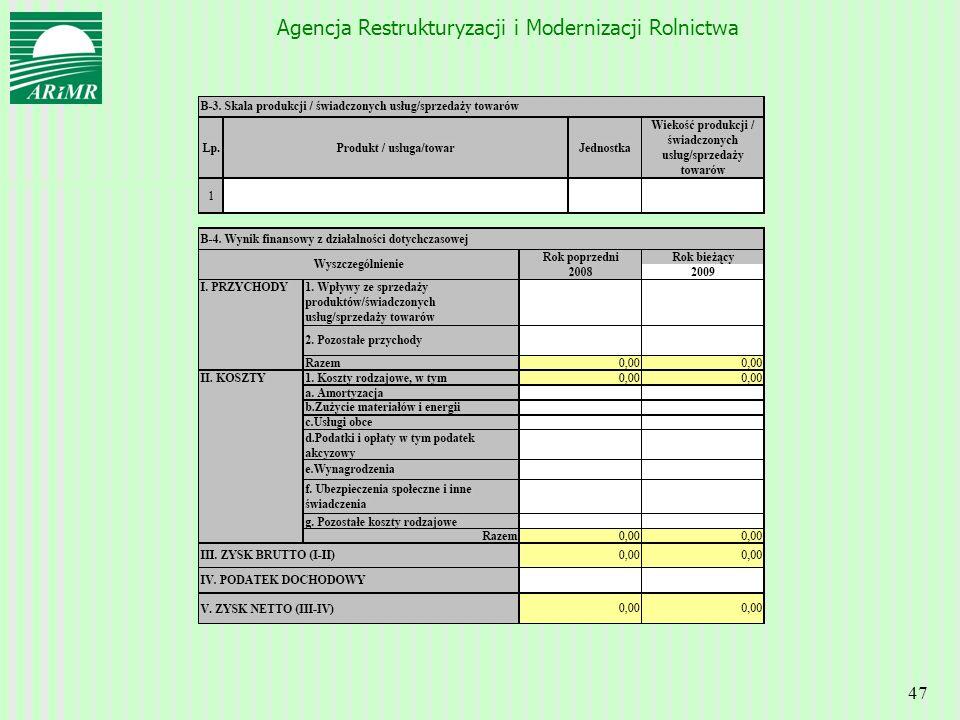 Agencja Restrukturyzacji i Modernizacji Rolnictwa 47