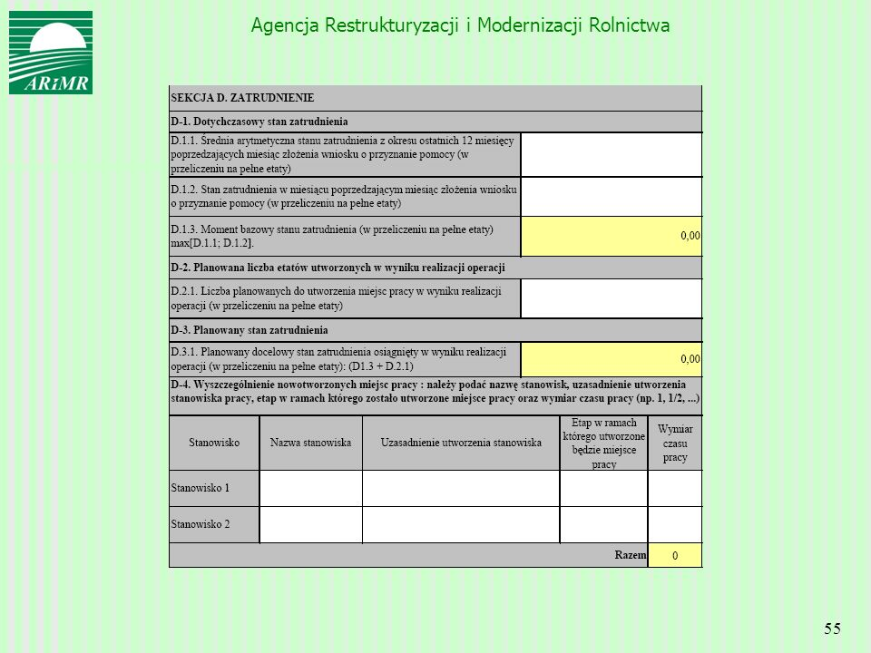Agencja Restrukturyzacji i Modernizacji Rolnictwa 55