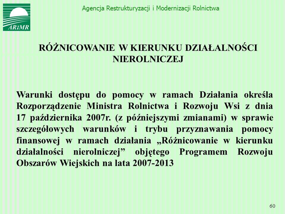 Agencja Restrukturyzacji i Modernizacji Rolnictwa 60 RÓŻNICOWANIE W KIERUNKU DZIAŁALNOŚCI NIEROLNICZEJ Warunki dostępu do pomocy w ramach Działania ok