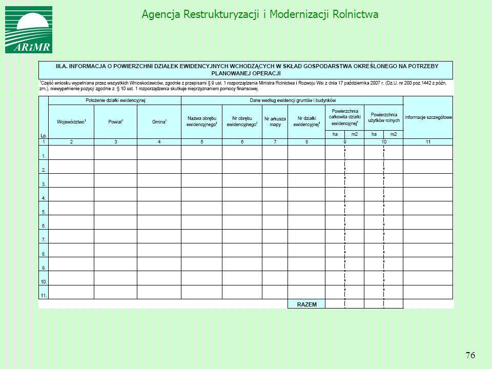 Agencja Restrukturyzacji i Modernizacji Rolnictwa 76