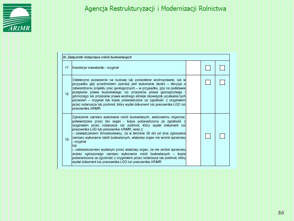 Agencja Restrukturyzacji i Modernizacji Rolnictwa 86