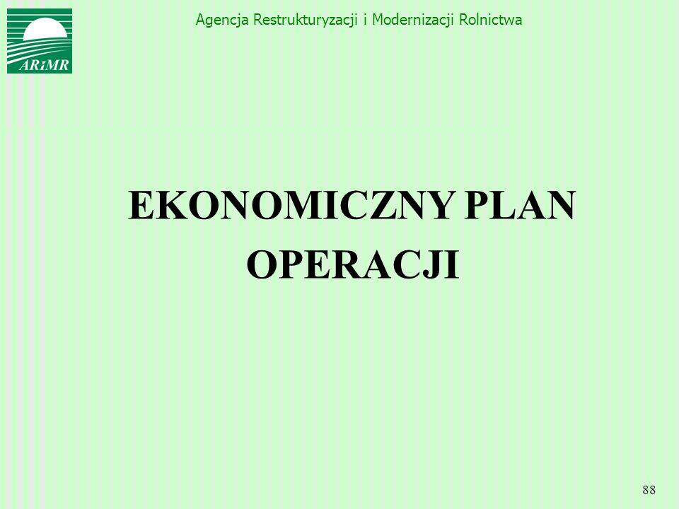 Agencja Restrukturyzacji i Modernizacji Rolnictwa 88 EKONOMICZNY PLAN OPERACJI