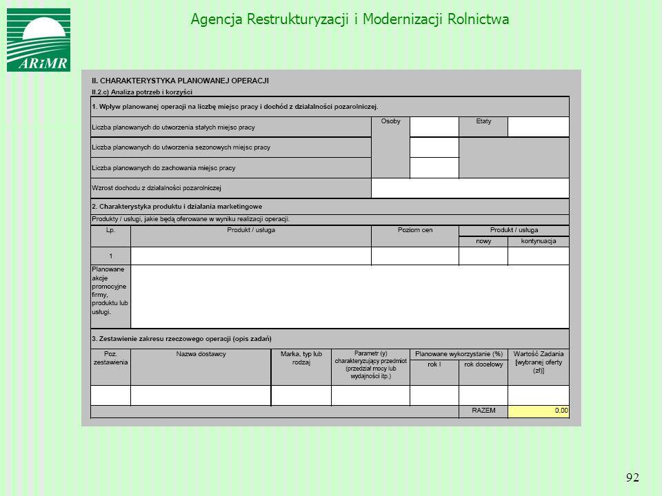 Agencja Restrukturyzacji i Modernizacji Rolnictwa 92