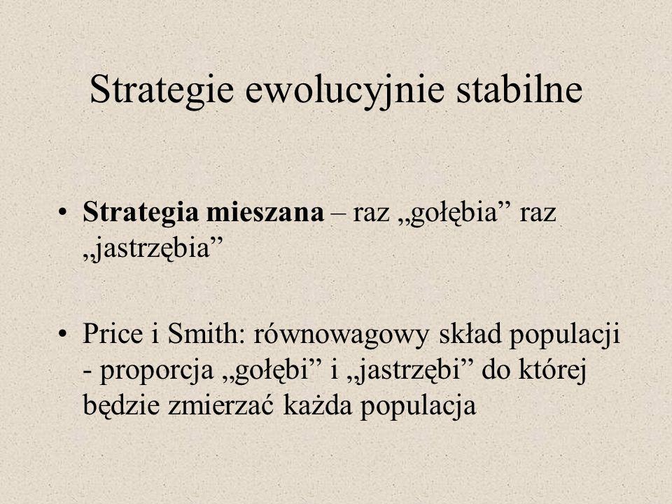 Strategie ewolucyjnie stabilne Strategia mieszana – raz gołębia raz jastrzębia Price i Smith: równowagowy skład populacji - proporcja gołębi i jastrzę