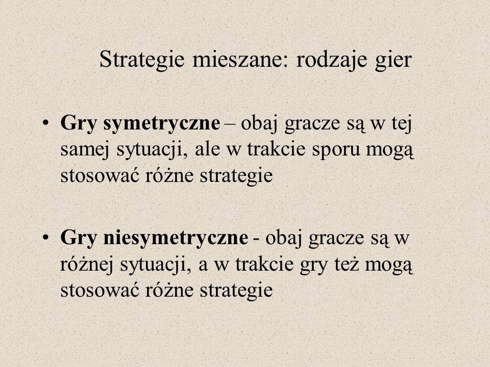 Gry symetryczne – obaj gracze są w tej samej sytuacji, ale w trakcie sporu mogą stosować różne strategie Gry niesymetryczne - obaj gracze są w różnej