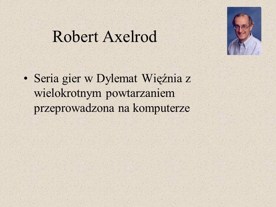 Robert Axelrod Seria gier w Dylemat Więźnia z wielokrotnym powtarzaniem przeprowadzona na komputerze