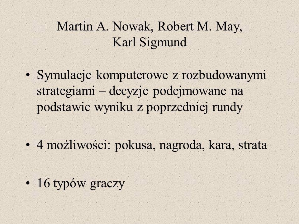 Martin A. Nowak, Robert M. May, Karl Sigmund Symulacje komputerowe z rozbudowanymi strategiami – decyzje podejmowane na podstawie wyniku z poprzedniej