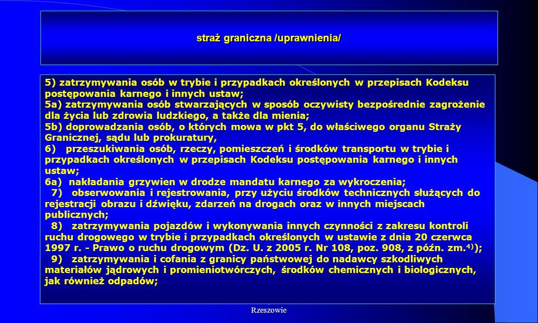 Dr Kamilla Kurczewska, Katedra Prawa WSIiZ w Rzeszowie straż graniczna /uprawnienia/ 5) zatrzymywania osób w trybie i przypadkach określonych w przepi
